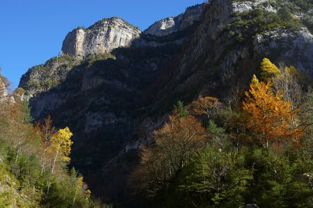 Autumnal scene in Anisclo Valley, Ordesa National Park, Pyrenees, Huesca, Aragon, Spain
