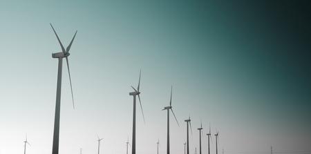 Windmills for renewable electric energy production, Pozuelo de Aragon, Zaragoza, Aragon, Spain photo