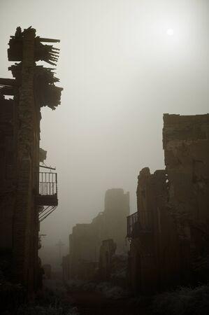 Belchite village destroyed in a bombing during the Spanish Civil War, Saragossa, Aragon, Spain Stock Photo