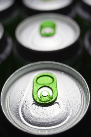 Closeup of a group of beer cans photo