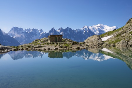 Mont Blanc Mountains reflected in Lac Blanc, Mont Blanc Massif, Alps, France photo