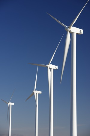 Windmills for renewable electric energy production, Pozuelo de Aragon, Zaragoza, Aragon, Spain photo