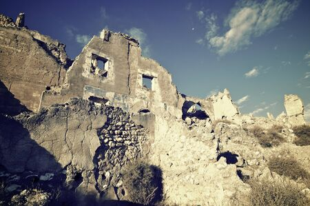 Roden village destroyed in a bombing during the Spanish Civil War, Saragossa, Aragon, Spain Stock Photo
