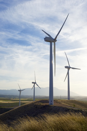 windturbine: Windmills for electric power production at sunset, Zaragoza Province, Aragon, Spain