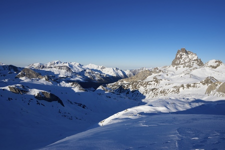 midi: sunset on the South slope of the peak Midi dOssau, 2884 meters, Ossau Valley, Pyrenees, France Stock Photo