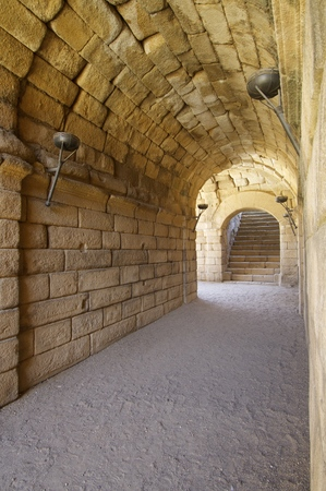Tunnel in Roman theater in Merida, the theater, today, is used for theatrical performances, Merida, Badajoz, Extremadura, Spain photo