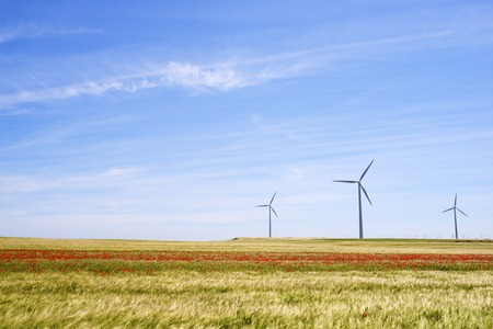 Windmills for electric power production, Huesca province, Aragon, Spain photo