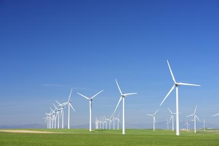 Windmills for electric power production, Zaragoza province, Aragon, Spain Archivio Fotografico