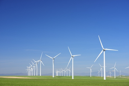 wind turbines: Windmills for electric power production, Zaragoza province, Aragon, Spain Stock Photo