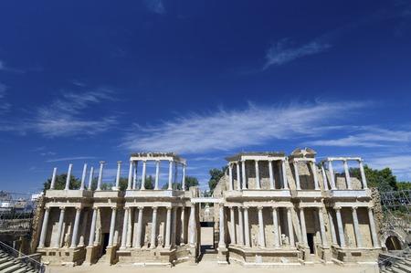 merida: Roman theater in Merida, the theater, today, is used for theatrical performances, Merida, Badajoz, Extremadura, Spain Stock Photo
