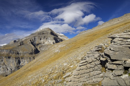 View of the massif of Monte Perdido in Ordesa National Park, Spain Stock Photo