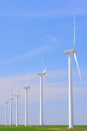 electric blue: Windmills for electric power production, Pozuelo de Aragon, Zaragoza, Aragon, Spain