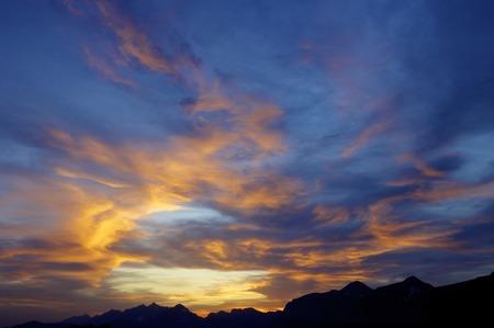 ordesa: colorful dawn sky in Ordesa, Pyrenees, Huesca, Aragon, Spain.