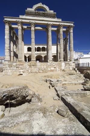 columns  of the Roman temple of Diana, Merida, Badajoz, Extremadura, Spain photo