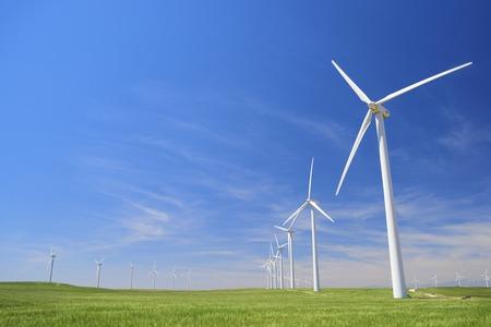 Windmills for electric power production, Zaragoza province, Aragon, Spain Foto de archivo