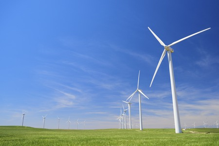 Windmills for electric power production, Zaragoza province, Aragon, Spain Stock Photo