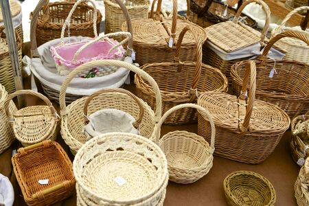 Group wicker baskets at a local flea market, Biescas, Pyrenees, Huesca, Spain. photo