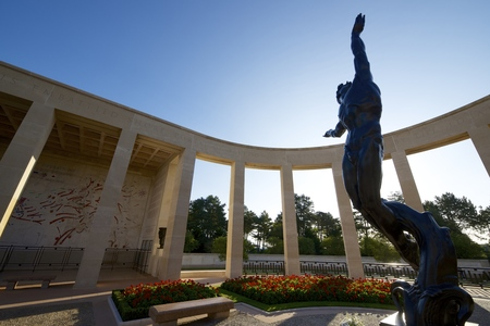omaha: Memorial in American Cemetery, Coleville-sur-Mer, Omaha Beach, Normandy, France.