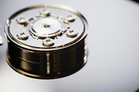 hard drive: Closeup of an open computer hard drive Stock Photo