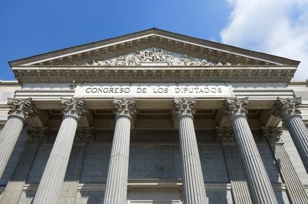 view of the main facade of the Spanish parliament, Congreso de los Diputados, Madrid, Spain.