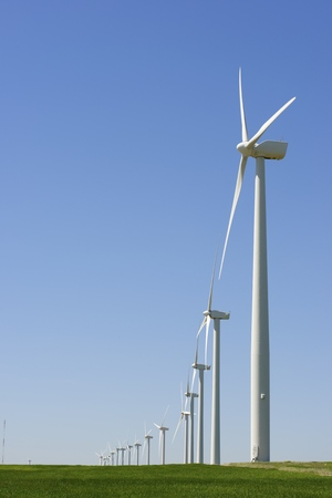 windfarms: windmills for  electric power production, Pozuelo de Aragon, Zaragoza, Aragon, Spain