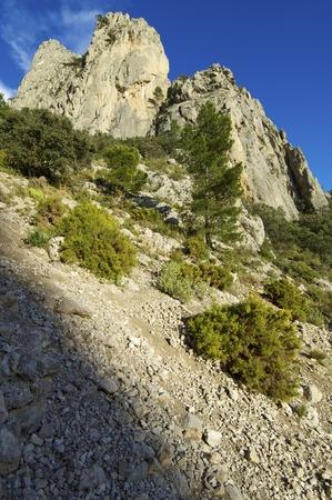 pinnacle: Pinnacle rocciosa in Puig Campana Mountains, Alicante, Valencia, Spagna Archivio Fotografico