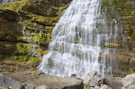 abrupt: Cola de Caballo waterfall in Ordesa National Park, Pyrenees, Huesca, Aragon, Spain