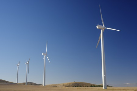 windturbines: Windmills for renewable electric energy production, Pozuelo de Aragon, Zaragoza, Aragon, Spain