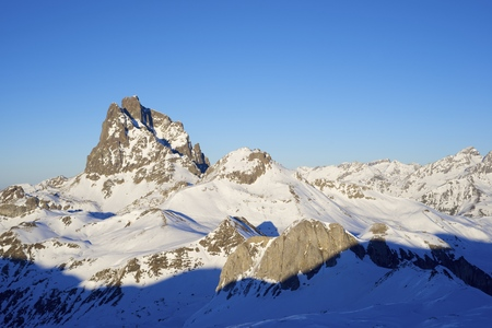 pinnacle: sunset on the South slope of the peak Midi dOssau, 2884 meters, Ossau Valley, Pyrenees, France Stock Photo