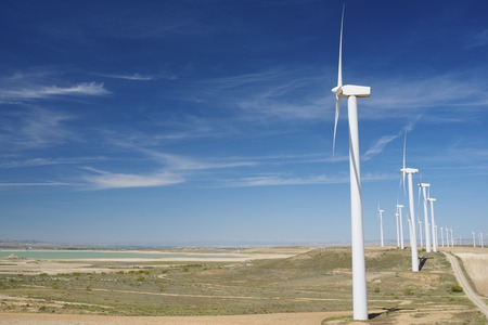 windfarms: Windmills for electric power production, Zaragoza province, Aragon, Spain Stock Photo