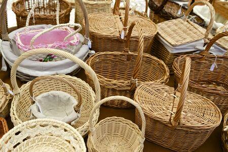 wicker work: Group wicker baskets at a local flea market, Biescas, Pyrenees, Huesca, Spain.