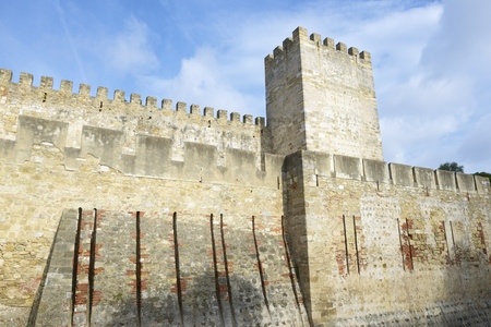 jorge: Entrance to the keep of the castle of San Jorge, Lisbon, Portugal. Editorial