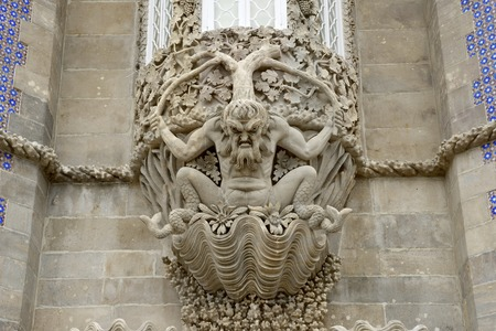 pena: Stone carved under a window in Pena Palace, Sintra, Portugal.