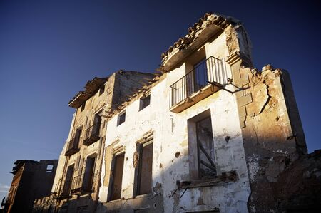 demolishing: Belchite village destroyed in a bombing during the Spanish Civil War, Saragossa, Aragon, Spain Stock Photo