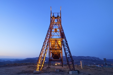 metal structure: Old metal structure employed in mining work, Teruel, Aragon, Spain.