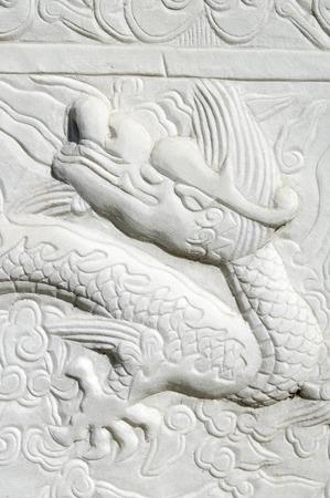 chinese wall: Drago intagliata in una parete cinese