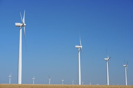 windfarms: Windmills for electric power production in Pozuelo de Aragon, Zaragoza, Aragon, Spain