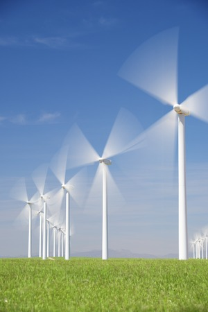 wind energy: Windmills for electric power production in Zaragoza province, Aragon, Spain