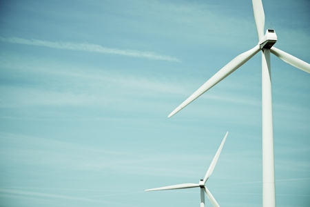 windturbine: Windmills for electric power production in Huesca province, Aragon, Spain Stock Photo