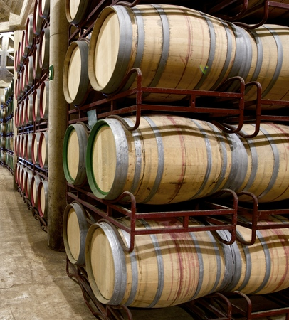 ferment: stacked wine barrels to ferment the wine in La Rioja, Spain