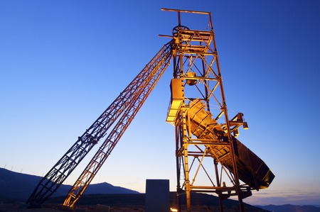 poppet: Old metal structure employed for mining work in Teruel, Aragon, Spain. Stock Photo