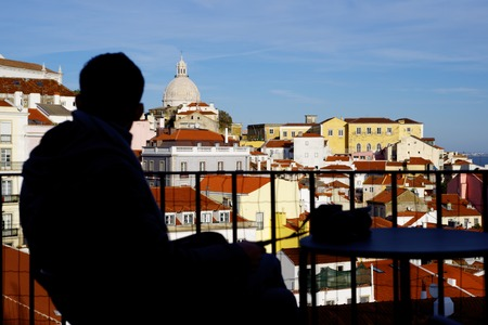 roof profile: Alfama downtown in Lisbon, Portugal.