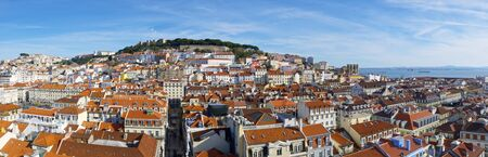 jorge: Aerial view of old town Lisbon, the bottom image looks San Jorge Castle, Portugal