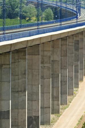 ave: viaduct in Calatayud, Saragossa, Aragon, Spain, AVE Madrid Barcelona.
