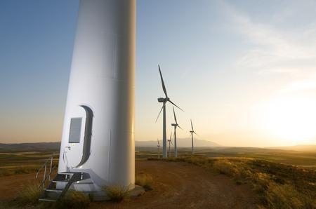 Groep van windmolens voor duurzame productie van elektrische energie, Fuendejalon, Zaragoza, Aragon, Spanje Stockfoto