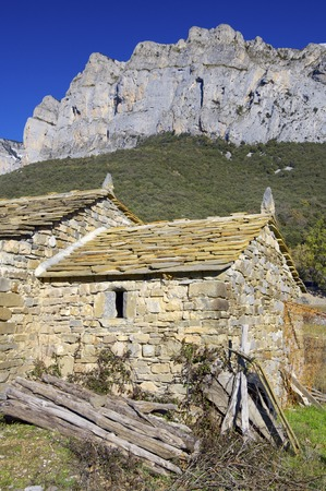 View of a stone rural house in Pyrenees. photo