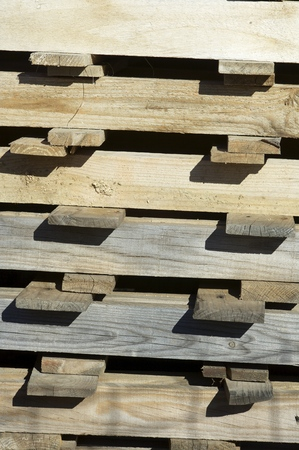 Closeup of a group of wooden pallets. photo