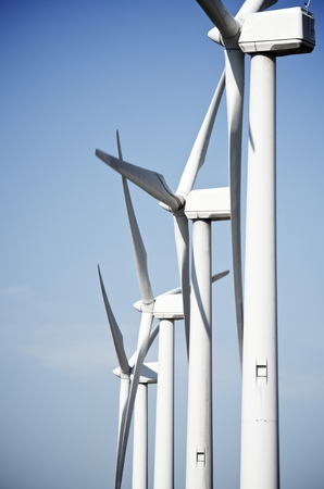 aligned: aligned group of windmills for renewable electric energy production, Navarre, Spain