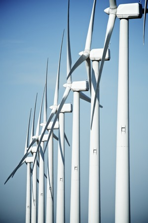 aligned: aligned group of windmills for renewable electric energy production, Cintruenigo, Navarre, Spain