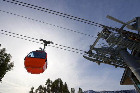 Cable car at a ski resort in Andorra. photo